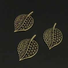 10pcs  Leaf charms antique bronze tone hollow leaf by beadsmall