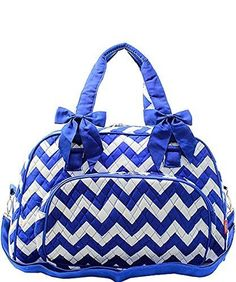 34.29$  Buy now - http://viwxc.justgood.pw/vig/item.php?t=kyu21d81616 - Chevron Stripe Quilted Large Weekender Tote Duffel Bag Royal Blue 34.29$