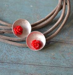 Flower in a cup   Sterling Silver earstuds by fleurfatale on Etsy