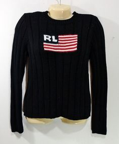 """COLOR: Navy blue with AMERICAN FLAG sweater. SIZE: Womens/Junior XL -- Bust: 38"""" Shoulders: 15"""" Sleeves: 27"""" Length: 27"""". 