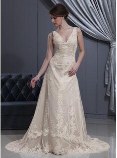 A-Line/Princess V-neck Court Train Satin Tulle Wedding Dress With Lace Beading (002012770) - JJsHouse