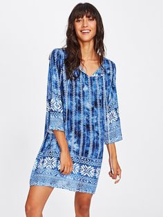 Shop V Neckline All Over Printed Dress online. SheIn offers V Neckline All Over Printed Dress & more to fit your fashionable needs.