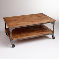 Wood and Metal Aiden Coffee Table   World Market