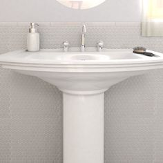 The Somertile Asteroid Penny Round White Porcelain Mosaic Floor And Wall Tile Is Matte And Glossy And Can Be Used On The Floor And Walls Feel Free To Use