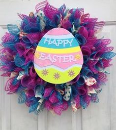 Easter Deco Mesh Wreath Pink And Blue With Happy Easter Sign   | eBay