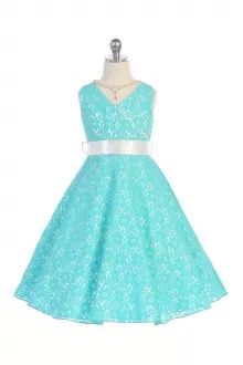 Turquoise Lace Floral Pattern Flower Girl Dress with Pearl Necklace