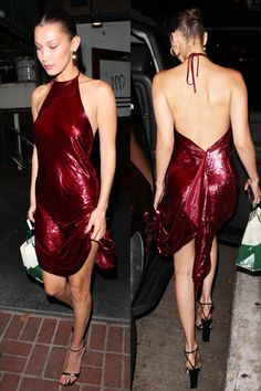 Bella Hadid stunned in a red sequin halter dress featuring a low back.