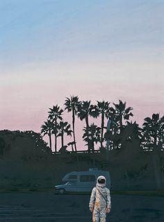 Science fiction wall art - painting - rv dusk by scott listfield Illustration Arte, Illustrations, Framed Art Prints, Canvas Prints, Hipster Vintage, Galaxy Painting, Scenery Wallpaper, Science Fiction Art, Sci Fi Art
