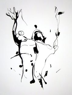 Original Abstract Human Figure Ink Drawing by JBsFineArtGallery