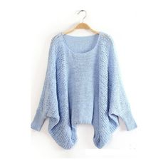Light Blue Round Neck Batwing Sleeve Pullover Sweaters (€24) ❤ liked on Polyvore featuring tops, sweaters, shirts, blue, batwing sleeve shirt, pullover sweater, bat sleeve sweater, long sleeve sweaters and blue shirt
