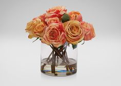 Mixed Orange Roses in Glass - Ethan Allen