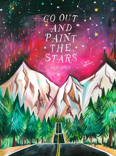 'Paint the Stars' by Katie Daisy Print of Painting on Paper