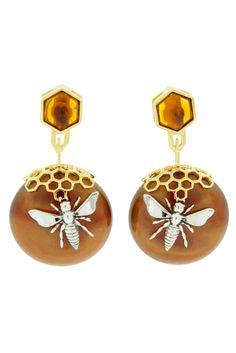Honeycomb Drop Earring In Butterscotch.