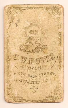C.W. MOTES, NO. 32 WHITE HALL STREET, ATLANTA, GA. CDV OF YOUNG MAN, PHOTOGRAPHER'S BACK IMPRINT. From the J. Fred Rodriguez Atlanta Collection.