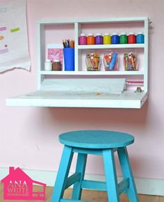 DIY organizing idea: Fold-down desk for children's rooms -- this has possibilities for the tinker area.  Wonder if it would work with the cabinets?