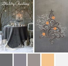 Find a new and elegant color palette for your holiday embroidery designs with this Sterling Christmas color inspiration.