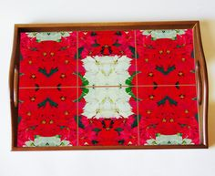 Wood tray with Christmas poinsettia ceramic tiles, Christmas decor, red, floral tray, flowers, holiday decor, serving tray, gift by RVJamesDesigns on Etsy