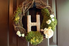 DIY Summer Front Door Wreath | Henning House - even has the right letter already :)