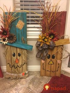 Halloween and Fall yard decorations - Diy Fall Decor Fall Wood Crafts, Thanksgiving Crafts, Holiday Crafts, Kids Crafts, Diy And Crafts, Wooden Crafts, Holiday Decor, Adornos Halloween, Halloween Crafts