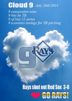 Tampa Bay Rays - Rays on cloud nine after shutout of Red Sox. Hellickson and four relievers blank Boston for ninth straight victory. AWESOME!!! Go Rays!