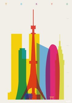 London-based designer and art director Yoni Alter developed this colorful series of posters entitled Shapes of Cities.