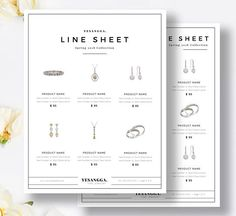 Minimalist Line Sheet Photoshop Template Wholesale Catalog