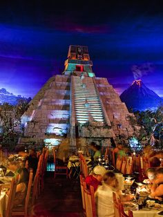 Mexico pavilion in Epcot.  The beautiful boat ride starts right alongside the restaurant.  It all overlooks this very scene!