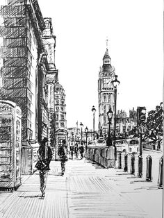 this pen and ink class, Phil Davies takes you through the step to draw a London street scene with Big Ben as its focal point. This class is suitable for newcomers to pen drawing but ideally you should have some basic drawing skills, which you can get f Basic Drawing, Drawing Skills, Drawing With Pen, Drawing Ideas, Drawing Drawing, Drawing Tips, Beautiful Pencil Drawings, Unique Drawings, London Drawing