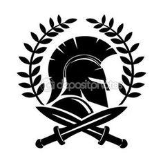 Casco espartano y espadas cruzadas — Ilustración de stock #100867552