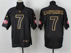 Nike San Francisco Colin Kaepernick 2014 All Black/Gold Elite Jersey Jersey Nike, Nfl 49ers, Nfl San Francisco, Colin Kaepernick, Nike Nfl, Nfl Jerseys, 7 And 7, Lettering, Black Gold