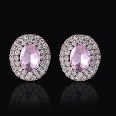 #Crystal #Earrings, Zinc Alloy, with #Crystal, stainless #steel post pin, Flat Oval, faceted & with rhinestone, more colors for choice, http://www.beads.us/product/Crystal-Earrings_p271836.html?Utm_rid=194581
