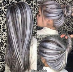 Bun Hairstyles For Long Hair, Long Curly Hair, Hair Color Wheel, Colour Wheel, Grey Hair Transformation, Gray Hair Highlights, Grey Ombre Hair, Truss Hair, Perfect Hair Color