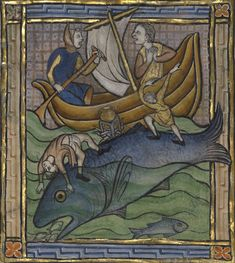 Two Fishermen on a Sea Creature, about 1270, Franco-Flemish. J. Paul Getty Museum. Ms. Ludwig XV 3, fol. 89v