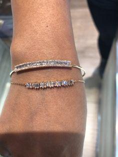 Baguette diamond bracelets Simple Bracelets, Cute Bracelets, Layered Bracelets, Handmade Bracelets, Bracelets For Men, Diamond Earing, Diamond Bracelets, Gemstone Bracelets, Gold Bangles
