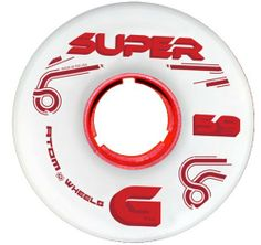Atom Super G Red Quad Indoor Roller Skate Wheels - 91A Hardness for Roller Derby Skates by Atom Wheels. $39.00. Atom Super G Red Quad Indoor Roller Skate Wheels - 91A Hardness for Roller Derby Skates - MIND BOGGLING is how we'd explain this wheel. Super G features a full urethane front supported with a large back mini-core. We've never used this mini core before but it proved its worth in testing. Looking for something that has more grip than a Stinger but not as soft as a Poi...