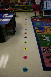 Spaced numbers on the floor to line up on...eliminates pushing, shoving, and line jumping!