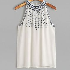 2018 New Fashion Casual Women Blouses Summer Embroidered Tops Sleeveless Casual Blouse Tops Shirt Female Blusas Bohemian Tops, Tops Bordados, Summer Crop Tops, Summer Tops For Girls, Shirts For Girls, Blouses For Women, Ideias Fashion, Embroidered Tops, Tank Tops