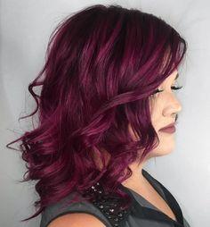 45 shades of burgundy hair: dark burgundy, maroon, burgundy rich plum red hair color medium and short burgundy hair can certainl. Plum Red Hair, Short Burgundy Hair, Bright Red Hair, Dark Red Hair, Violet Hair, Brown Hair, Colourful Hair, Burgundy Color, Maroon Hair Colors