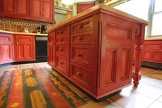 decoration magnetic antique red kitchen islands with solid wood butcher block…