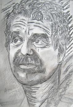 Una idea, mucho arte Gabriel García Márquez Carbonilla en cartón reciclado de caja de pastas, sin imprimar- 20 x30 cm. Autora: Ángela Vadalá