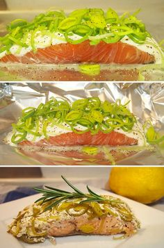 2 salmon filets 4 T creme fraiche Leeks, cleaned and sliced Lemon juice Salt and pepper Fish And Meat, Fish And Seafood, Good Food, Yummy Food, Fodmap Recipes, Dinner Is Served, Recipes From Heaven, Fish Dishes, Easy Healthy Recipes