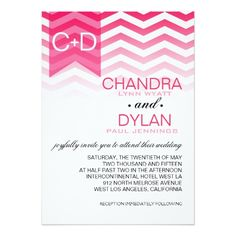 Colorful Chevron Wedding Invitations