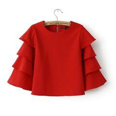 Women Sweet Ruffles Red blouses flare O neck shirts half sleeve casual brand tops blusa renda roupas femininas vintage Shirts & Tops, Short Shirts, Short Tops, Vintage Tops, Plus Size T Shirts, Mode Hijab, Red Blouses, Blouse Styles, Crop Blouse