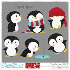 Buy 2 get 1 FREE - Cute Penguins Cliparts Vol 3 - Digital Clip Art , Commercial Use Clipart, Scrapbook, Printable - INSTANT DOWNLOAD