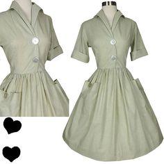 Vintage 50s Dress S Small Shirtwaist Full Skirt Rockabilly