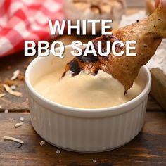 Did you know there was white BBQ Sauce? This twist on a traditional BBQ sauce is tangy, creamy and delicious. We love putting Alabama White BBQ Sauce on our grilled chicken, pulled pork, fish, burgers and lots more! Burger Sauces Recipe, Barbecue Sauce Recipes, Bbq Sauces, Sauces For Burgers, Best Burger Sauce, Grilling Recipes, White Bbq Sauce, White Sauce Recipes, Alabama White Sauce