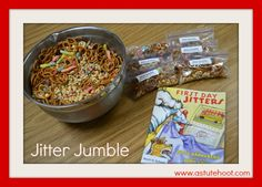 First Day Jitter Jumble: Students often feel nervous and anxious on the first day of school and it is important to address to help them feel more comfortable in the classroom. Read First Day Jitters by Julie Danneberg. Then follow recipe to make Jitter Jumble together, discussing and recording what each ingredient represents.
