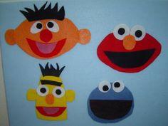 Sesame Street Felt Characters...  Hot glue eye parts together.  Plus big bird, Oscar, ... Glue background felt to gallon zip lock