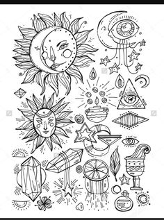 Hand draw Vector set of magical and alchemy signs and symbols in trendy linear style - tattoo concepts and logo design elements. Tattoo Drawings, Body Art Tattoos, Small Tattoos, Art Drawings, Pencil Drawings, Adult Coloring, Coloring Pages, Doodles, Moon Art