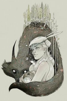 Artist: Chiara Bautista (a.k.a. Milk), mixed media {contemporary fantasy #surreal art female head fox forest woman face cropped painting}